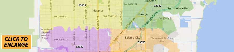 miami dade county zip code map - florida county maps